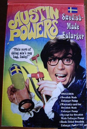 clerk warranty card swedish-made penis enlarger pump filled austin powers